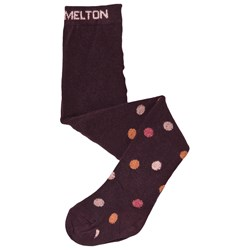 Melton Tights In Cotton With Dots  Plum