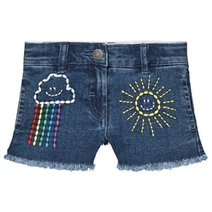 Image of Stella McCartney Kids Embroidered Sun and Rainbow Shorts Blåt 2 years (1602712)