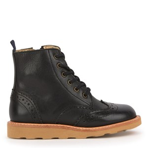 Image of Young Soles Black Leather Sidney Zip and Lace Leather Boots 26 (UK 8.5) (1695113)