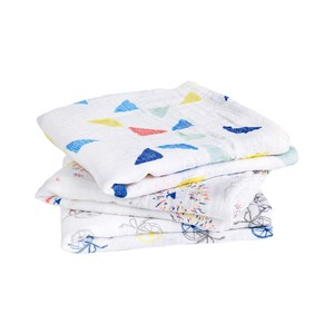 Image of Aden + Anais White and Multicolor Graphic Musy (3 Pack) One Size (791533)