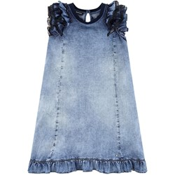Diesel Blue Acid Wash Frill Ruffle and Lace Sleeve Dress