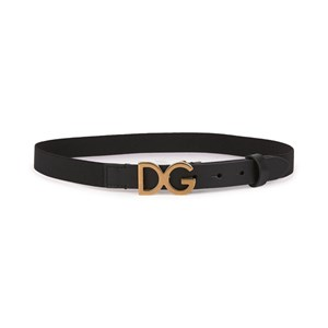 Dolce & Gabbana Black and Gold D&G Elasticated and Leather Belt M 52cm (4-6 years)