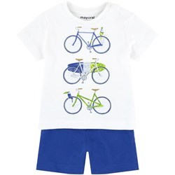 Mayoral White Bicycle Print Tee and Shorts Set