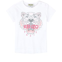 Kenzo White and Pink Tiger Print Baby Tee