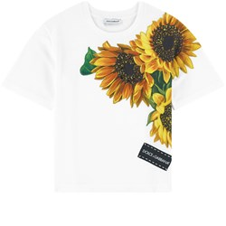 Dolce & Gabbana Sunflower Patch Jewel Embroidered Tee White
