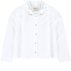 Catimini White with Embroidered Face Collar Blouse