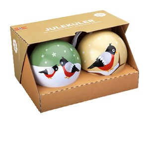 Image of Blafre Christmas Balls, Bullfinch, set of two One Size (1672901)