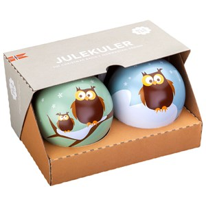 Image of Blafre Christmas Balls, Owl, set of two One Size (1672902)
