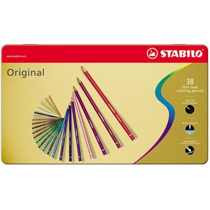 Image of STABILO Original Thin Lead Colouring Pencils 38-pack Metal Tin 9+ years (1673903)