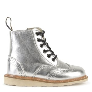 Young Soles Silver Leather Sidney Zip and Lace Boots 35 (UK 2.5)