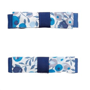Image of Jacadi 2-Pack Floral Bow Hair Clips Navy One Size (1666779)
