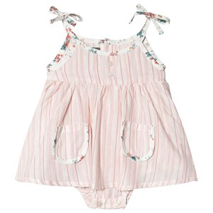 Image of Tocoto Vintage Baby Striped Dress With Flower Print Straps And Inner Body Salmon 6 mdr (1723682)
