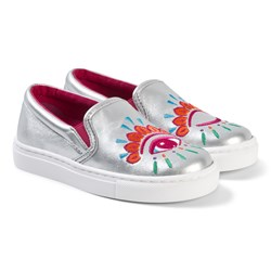 Kenzo Embroidered Sneakers Silver