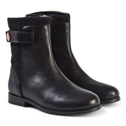 Carrément Beau Leather and Wool Boots Black