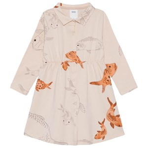 Image of WAWA Collar Dress Aganist The Stream Beige W Print 2-3 år (1610273)