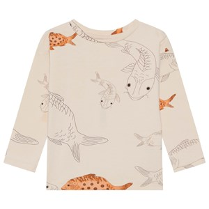 Image of WAWA Long Tee Aganist The Stream Beige W Print 2-3 år (1610268)