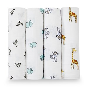 Image of Aden + Anais 4-Pakke Jungle Jam Klassisk Swaddle one size (490863)
