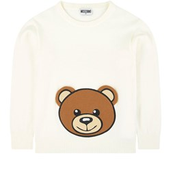 Moschino Kid-Teen Embroidered Knit Sweater White