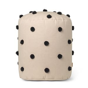 Image of ferm LIVING Dot Tufted Pouf - Sand Black One Size (1581611)