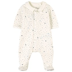 Petit Bateau White and Blue All Over Star Print Double Jersey Babygrow