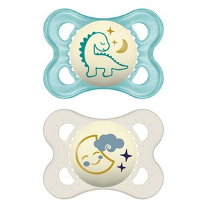 MAM 2-Pack Original Night Silicone Napp 0-6m Blå One Size