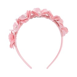 Mayoral Pink Flower and Pearl Diadem