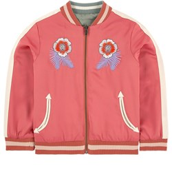 Stella McCartney Kids Pink Willow Embroidered Bomber Jacket Reversible into Green