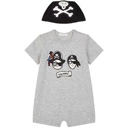 Dolce & Gabbana Grey Dolce and Gabbana Pirates Applique Romper with Pirate Hat