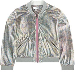 The Marc Jacobs Silver Iridescent Effect Bomber Jacket