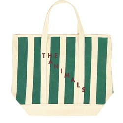 The Animals Observatory Mini Tote Bag Raw White Green Stripe