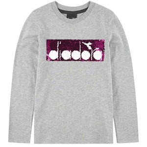 Image of Diadora Grey Two-Tone Sequin Branded Long Sleeve T-Shirt XS (6 years) (1115069)