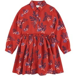 Carrément Beau Red Leaf Print Shirt Dress