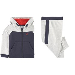 Emporio Armani Grey and Navy Branded Tracksuit