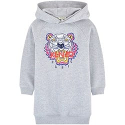 Kenzo Grey Tiger Embroidered Hoody Dress