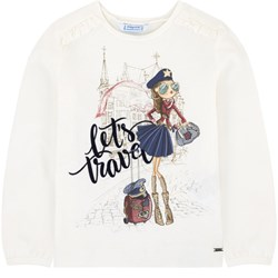 Mayoral White Let´s Travel Graphic Long Sleeve Tee
