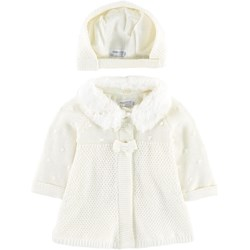 Mayoral Cream Fleece Lined Knitted Cardigan with Faux Fur Collar and Hat