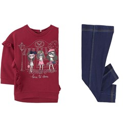 Mayoral Red Born To Live Graphic Ruffle Sweater & Jegging Set