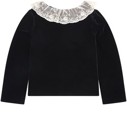 Bonpoint Black Velvet Lace Collar Blouse