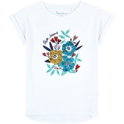 Pepe Jeans Vera Sequin Floral Branded Tee Optic White