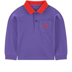 Burberry Blue & Red Branded Polo Shirt