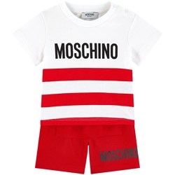 Moschino Kid-Teen Red Branded Stripe Tee and Shorts Set