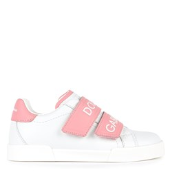 Dolce & Gabbana White and Pink Label Strap Sneakers