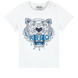 Kenzo White and Navy Tiger Print Baby Tee