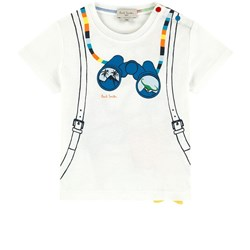 Paul Smith Junior White Front and Back Binoculars and Backpack Print Tee