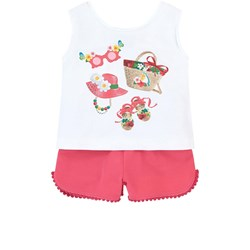 Mayoral White Accessories Print Vest & Pink Jersey Pom Pom Detail Shorts Set