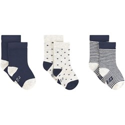 Petit Bateau 3-Pack Sparkle Ankle Socks Red/Navy/White