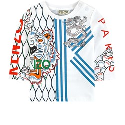 Kenzo Japanese Dragon Long Sleeve Tee Optic White
