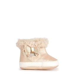 Mayoral Faux Fur Bow Detail Zip Booties Champagne