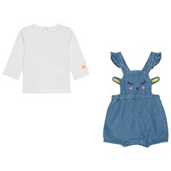 Catimini Blue Chambray Face Bubble with Tee Set