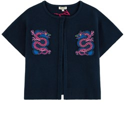 Kenzo Party Flower Embroidered Cardigan Blue